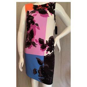 Worthington Floral Color Block Shift Dress L